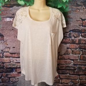 Cream Lace Detail Pocket Short Sleeve Top